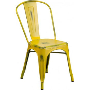 PHOENIX - DISTRESSED YELLOW METAL CHAIR