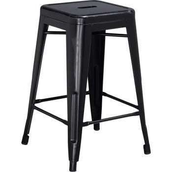PHOENIX - 24'' High Backless Distressed Black Metal Indoor Counter Height Stool