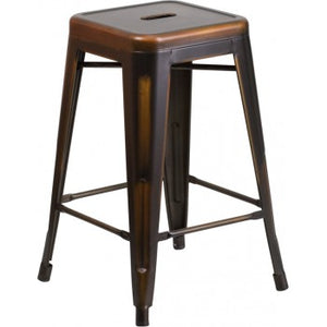 PHOENIX - 24'' High Backless Distressed Copper Metal Indoor Counter Height Stool