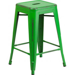 PHOENIX - 24'' High Backless Distressed Green Metal Indoor Counter Height Stool