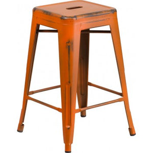PHOENIX - 24'' High Backless Distressed Orange Metal Indoor Counter Height Stool