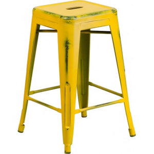PHOENIX - 24'' High Backless Distressed Yellow Metal Indoor Counter Height Stool
