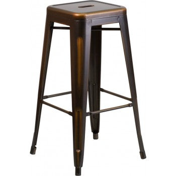 PHOENIX - 30'' High Backless Distressed Copper Metal Indoor Barstool