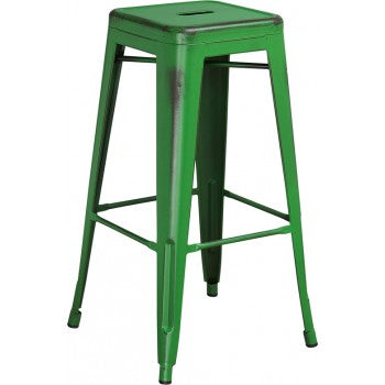 PHOENIX - 30'' High Backless Distressed Green Metal Indoor Barstool