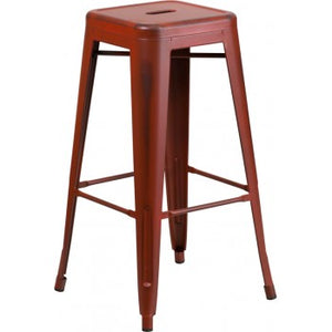 PHOENIX - 30'' High Backless Distressed Kelly Red Metal Indoor Barstool