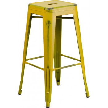 PHOENIX - 30'' High Backless Distressed Yellow Metal Indoor Barstool