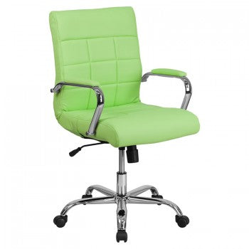 MID-BACK GREEN VINYL EXECUTIVE SWIVEL OFFICE CHAIR WITH CHROME ARMS [GO-2240-GN-GG]