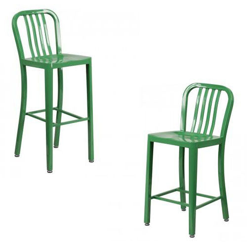 "NAVY CURVE - 24'' & 30"" Green Metal Bar Stool"
