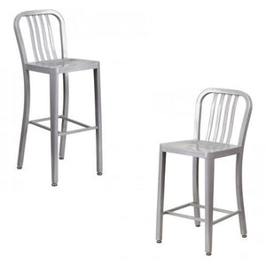 "NAVY CURVE - 24'' & 30"" Silver Metal Bar Stool"