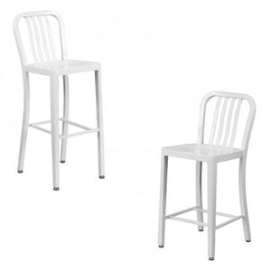 "NAVY CURVE - 24'' & 30"" White Metal Bar Stool"