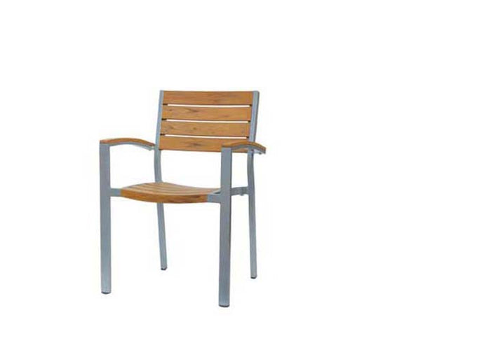 New Mirage Stacking Arm Chair w/Durawood - Aluminum