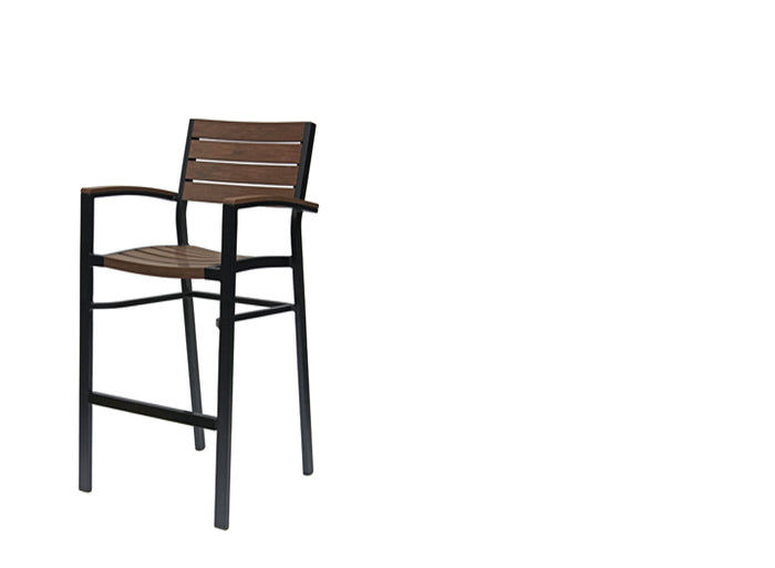 New Mirage Stacking Bar Chair w/Durawood - Aluminum
