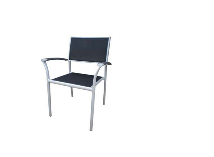 New Roma Sling Stacking Arm Chair - Sling & Aluminum