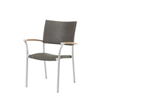 New Roma Stacking Arm Chair w/Durawood Armrest - Resin & Aluminum