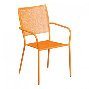 ORANGE INDOOR-OUTDOOR STEEL PATIO ARM CHAIR WITH SQUARE BACK [CO-2-OR-GG]