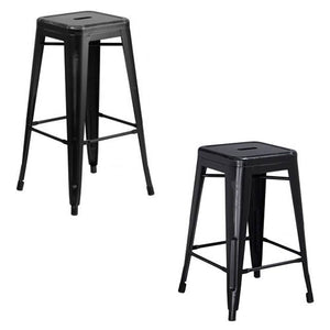 "PHOENIX - 24'' & 30"" High Backless Distressed Black Metal Indoor Counter Height Stool"