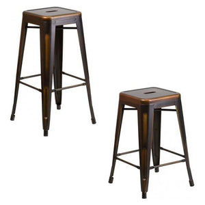 "PHOENIX - 24'' & 30"" High Backless Distressed Copper Metal Indoor Counter Height Stool"