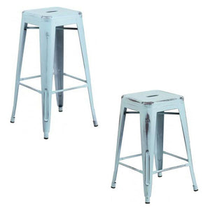 "PHOENIX - 24'' & 30"" High Backless Distressed Dream Blue Metal Indoor Counter Height Stool"
