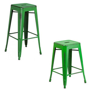 "PHOENIX - 24'' & 30"" High Backless Distressed Green Metal Indoor Counter Height Stool"