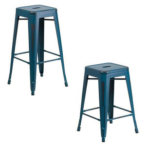 "PHOENIX - 24'' & 30"" High Backless Distressed Kelly Blue Metal Indoor Counter Height Stool"