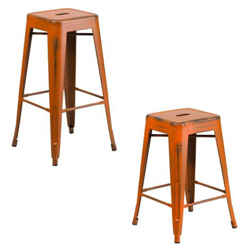 "PHOENIX - 24'' & 30"" High Backless Distressed Orange Metal Indoor Counter Height Stool"