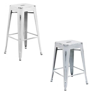 "PHOENIX - 24'' & 30"" High Backless Distressed White Metal Indoor Counter Height Stool"
