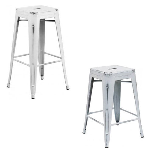 Pleasant Phoenix 24 30 High Backless Distressed White Metal Spiritservingveterans Wood Chair Design Ideas Spiritservingveteransorg
