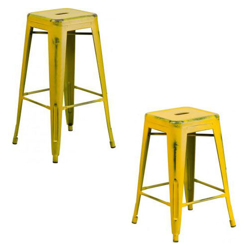"PHOENIX - 24'' & 30"" High Backless Distressed Yellow Metal Indoor Counter Height Stool"