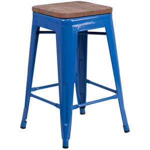 "PHOENIX - 24"" BACKLESS BLUE METAL BAR STOOL / WOOD SEAT OPTION"