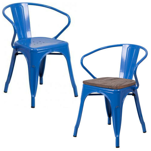 PHOENIX - BLUE METAL CHAIR WITH ARMS / WOOD SEAT OPTION