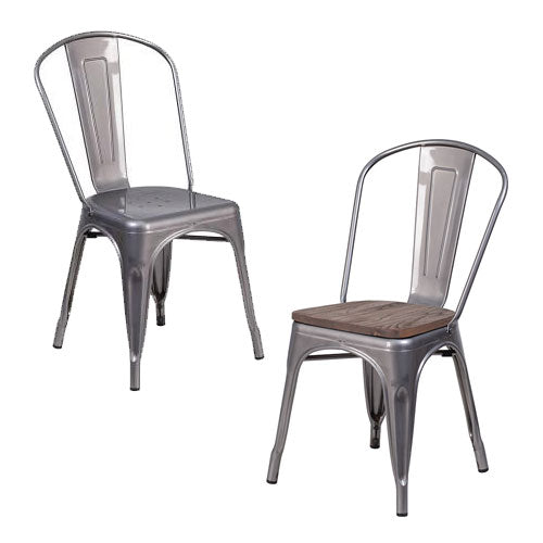 PHOENIX - CLEAR COATED METAL CHAIR / WOOD SEAT OPTION