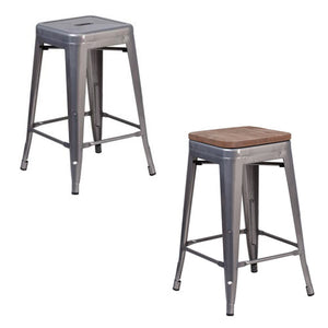 Phoenix 24'' Backless Clear Coated Metal Indoor Barstool with Square Seat / Wood Seat Option