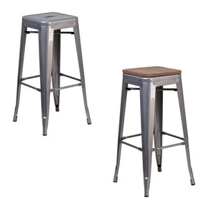 Phoenix 30''  Backless Clear Coated Metal Indoor Barstool with Square Seat / Wood Seat Option