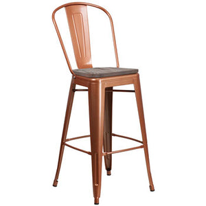 "PHOENIX - 30"" HIGH COPPER METAL STOOL / WOOD SEAT OPTION"