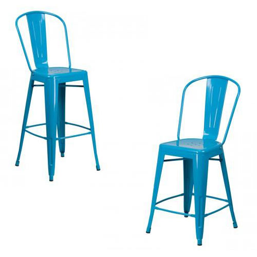 "PHOENIX - 24'' & 30"" High Crystal Blue Metal Stool"
