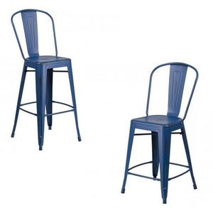 "PHOENIX - 24'' & 30"" High Distressed Antique Blue Metal Indoor Counter Height Stool"