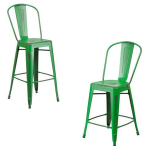 "PHOENIX - 24'' & 30"" High Distressed Green Metal Indoor Counter Height Stool"