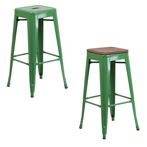"PHOENIX - 30"" BACKLESS GREEN METAL BAR STOOL / WOOD SEAT OPTION"