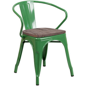 PHOENIX - GREEN METAL CHAIR WITH ARMS / WOOD SEAT OPTION