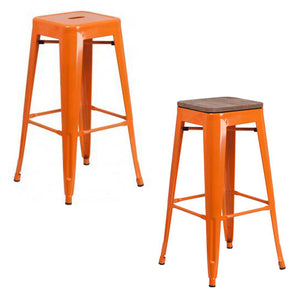 "PHOENIX - 30"" BACKLESS ORANGE METAL BAR STOOL / WOOD SEAT OPTION"