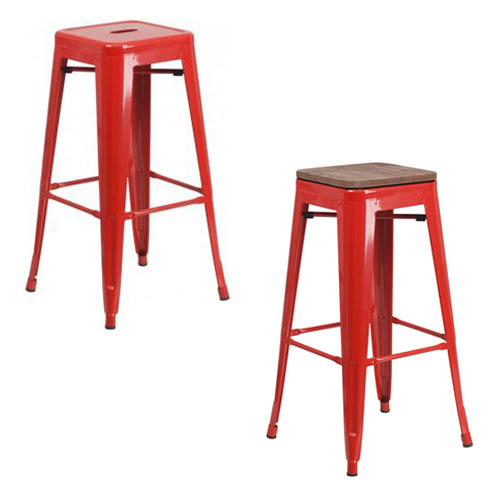 "PHOENIX - 30"" BACKLESS RED METAL BAR STOOL / WOOD SEAT OPTION"