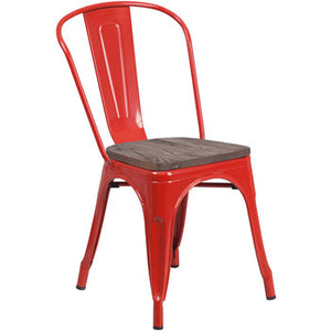 PHOENIX - RED METAL CHAIR / WOOD SEAT OPTION
