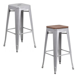 "PHOENIX - 30"" BACKLESS SILVER METAL BAR STOOL / WOOD SEAT OPTION"