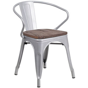 PHOENIX - SILVER METAL CHAIR WITH ARMS / WOOD SEAT OPTION