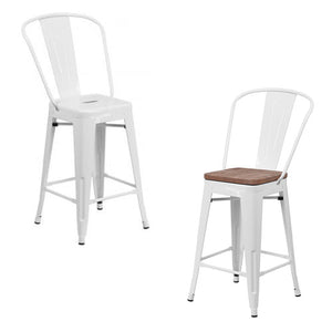 "PHOENIX - 24"" HIGH WHITE METAL STOOL / WOOD SEAT OPTION"