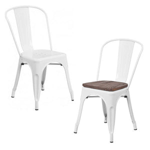 PHOENIX - WHITE METAL CHAIR / WOOD SEAT OPTION