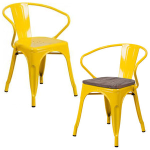 PHOENIX - YELLOW METAL CHAIR WITH ARMS / WOOD SEAT OPTION