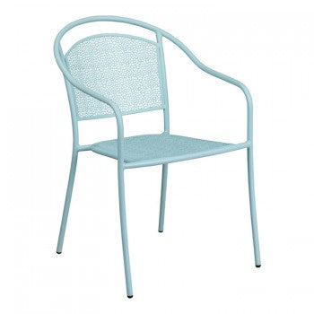 SKY BLUE INDOOR-OUTDOOR STEEL PATIO ARM CHAIR WITH ROUND BACK [CO-3-SKY-GG]