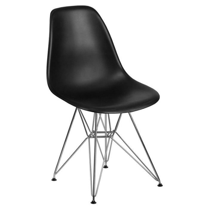 SUMATRA SERIES BLACK PLASTIC CHAIR WITH CHROME BASE