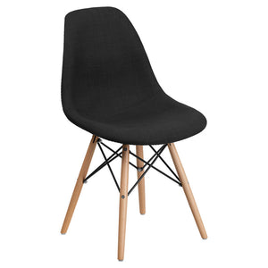 SUMATRA SERIES GENOA BLACK FABRIC CHAIR WITH WOOD BASE